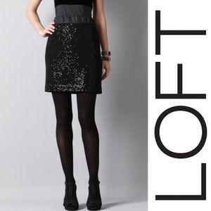 LOFT elastic waist black sequin pencil skirt XXL